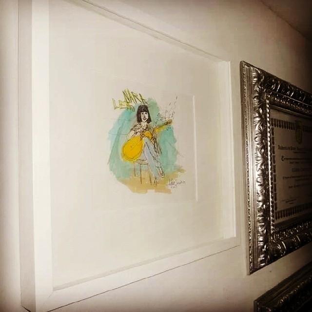 Quadro com desenho da Nara Leão, na casa do biografo dela; Cássio Cavalcanti